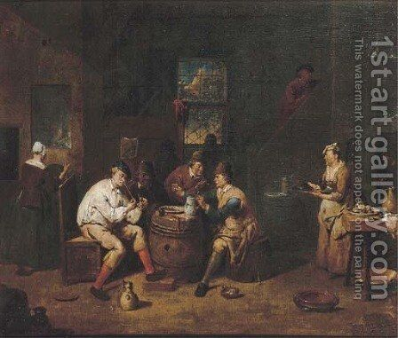 Peasants smoking and drinking in a tavern by Jan Baptist Lambrechts - Reproduction Oil Painting