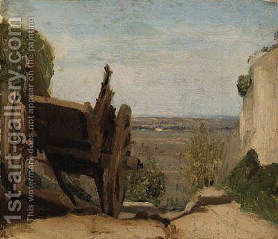 La Charrette (The Cart) by Jean-Baptiste-Camille Corot - Reproduction Oil Painting