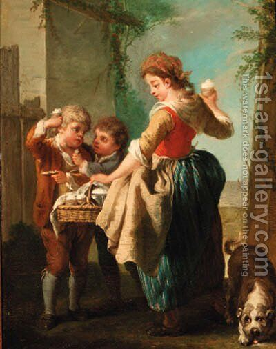 A woman selling sherbert by Jean Baptiste (or Joseph) Charpentier - Reproduction Oil Painting