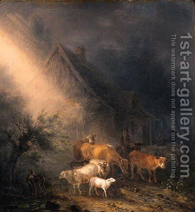 A cowherd fording goats and sheep on a track by a farm at night by Jean Baptiste De Roy - Reproduction Oil Painting