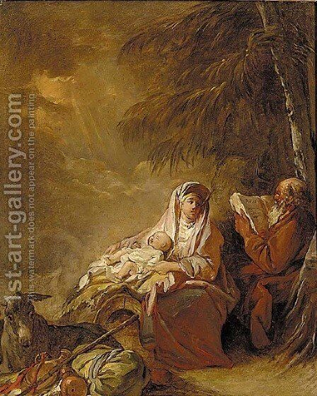 The Rest on the Flight into Egypt by Jean Baptiste Leprince - Reproduction Oil Painting