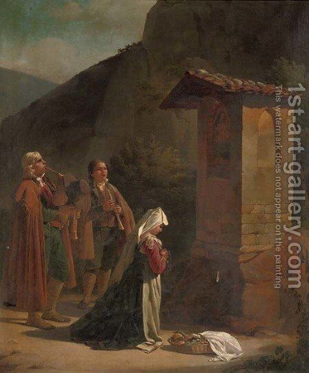 Musicians by a roadside chapel by Jan Baptist Lodewyck Maes - Reproduction Oil Painting