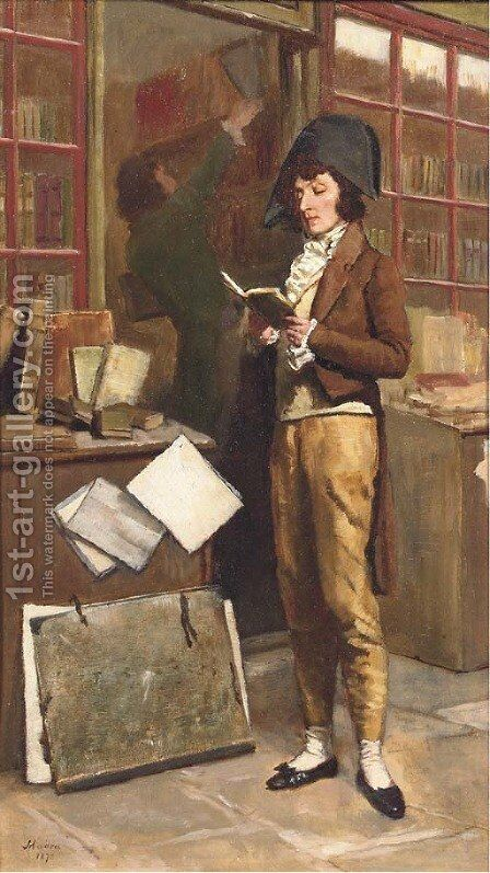 At the bookshop by Jean-Baptiste Madou - Reproduction Oil Painting