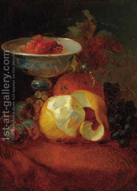 A still life with a pealed lemon by Jean-Baptiste Robie - Reproduction Oil Painting