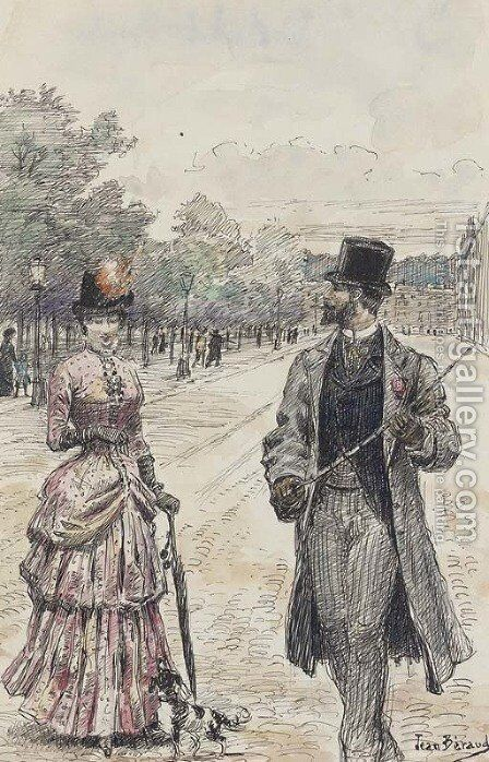 La promenade by Jean-Georges Beraud - Reproduction Oil Painting