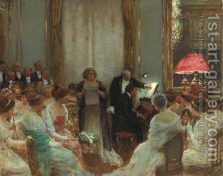 Le Concert prive by Jean-Georges Beraud - Reproduction Oil Painting
