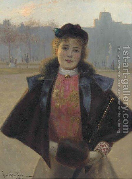 Portrait of a young woman, three quarter length, in a winter park with fur cape, muff and hat by Jean Beauduin - Reproduction Oil Painting