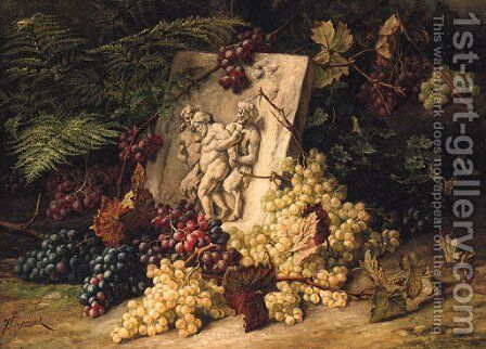 A stone Relief depicting the drunken Silenus amidst Grapes by Jean Capeinick - Reproduction Oil Painting