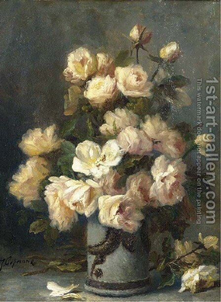 Roses in a vase by Jean Capeinick - Reproduction Oil Painting