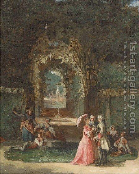 Elegant figures in a garden by Jean Carolus - Reproduction Oil Painting