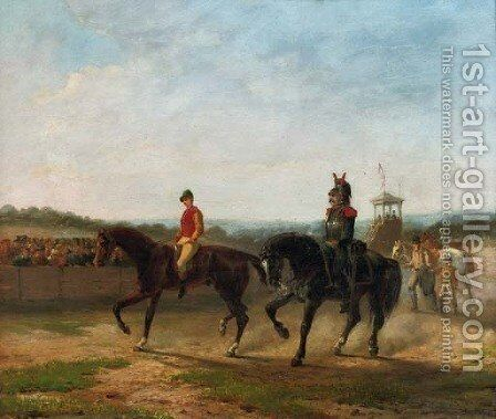 On the racecourse by Jean-Charles Joseph Rémond - Reproduction Oil Painting