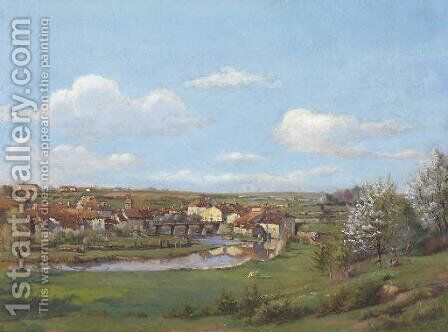 A French River Town by Jean Ferdinand Monchablon - Reproduction Oil Painting