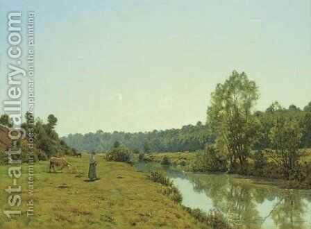 A Woman and Cow in a River Landscape by Jean Ferdinand Monchablon - Reproduction Oil Painting