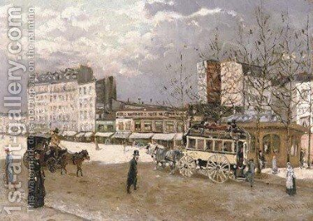 Place Blanche, Boulevard Clichy by Jean-Francois Raffaelli - Reproduction Oil Painting