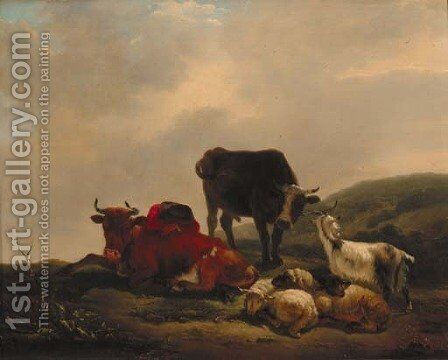 A landscape with a herdsman resting amongst cattle and sheep by Jean Francois Le Gillon - Reproduction Oil Painting
