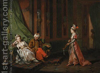 Harem court scenes A woman playing a citar by Hugues Taraval - Reproduction Oil Painting