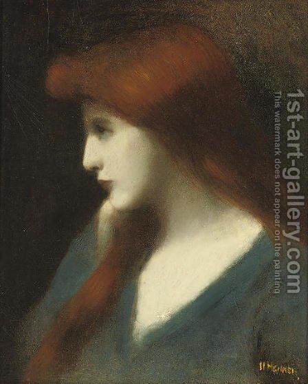 Lady in blue by Jean-Jacques Henner - Reproduction Oil Painting
