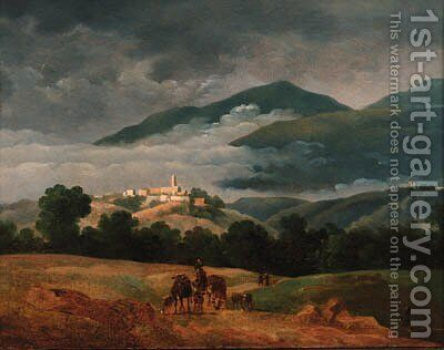 A neatherd and his cattle in a mountainous landscape by Jean-Joseph-Xavier Bidauld - Reproduction Oil Painting