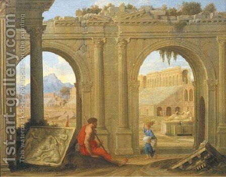 Figures amongst classical architectural ruins by Jean Lemaire - Reproduction Oil Painting