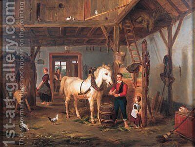 Stable Companions by Jean Louis van Kuyck - Reproduction Oil Painting