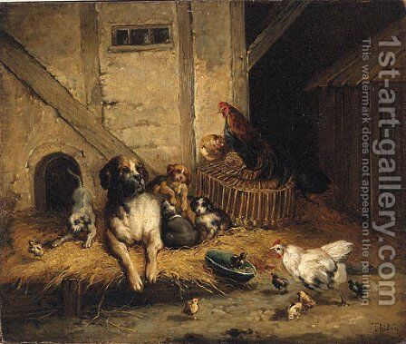 Farmyard Friends by Jean Maurice Thibon - Reproduction Oil Painting