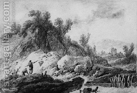 A Landscape with Fishermen by a River; and A Peasant with a Cow and a Sheep resting by a delapidated Tower, a bridge and mountains beyond by Jean-Baptiste Pillement - Reproduction Oil Painting