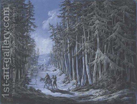 A winter scene with travellers in a wooded landscape by Jean-Baptiste Pillement - Reproduction Oil Painting