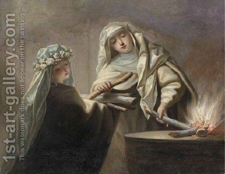 The Sacred Fire two Vestal Virgins tending the hearth by Jean Raoux - Reproduction Oil Painting