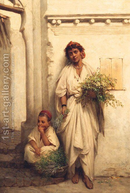 The Flower Seller by Jean Raymond Hippolyte Lazerges - Reproduction Oil Painting
