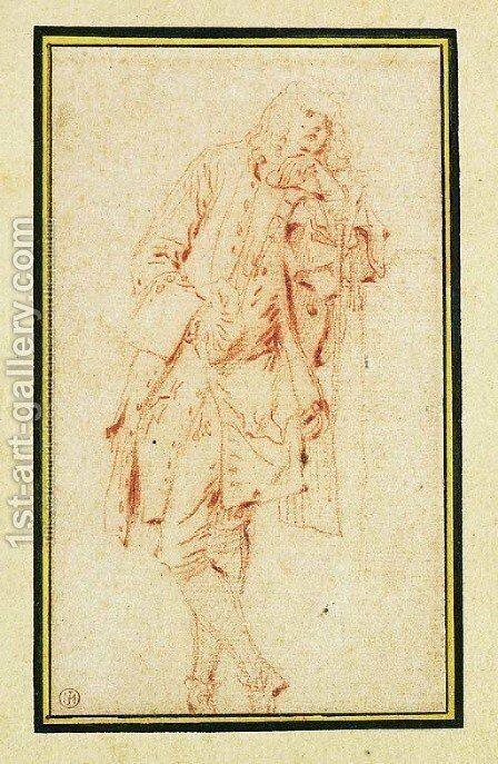 A Man leaning against a Pillar by Jean-Antoine Watteau - Reproduction Oil Painting