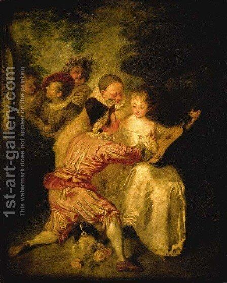 Le Conteur Artists from the Commedia dell'Arte in a landscape by Jean-Antoine Watteau - Reproduction Oil Painting