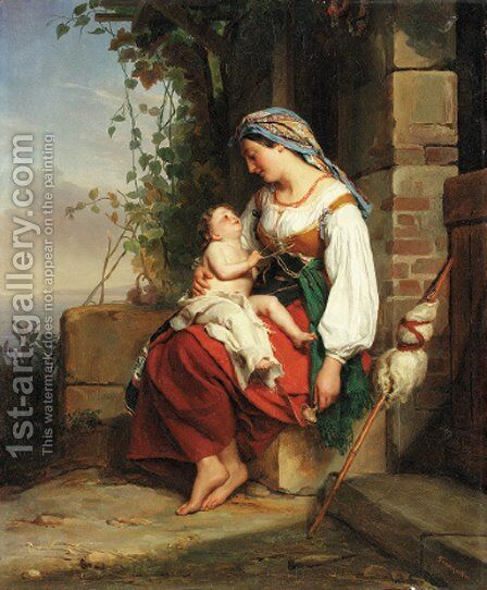 Mother and child by Jean Augustin Franquelin - Reproduction Oil Painting