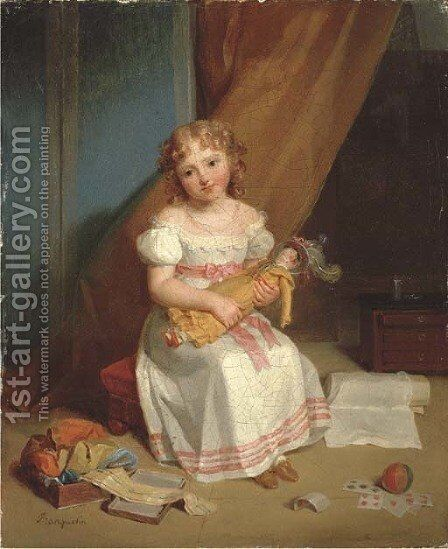 Portrait of a young girl, full-length, in a nursery holding a doll with cards, a ball, and ribbons by Jean Augustin Franquelin - Reproduction Oil Painting