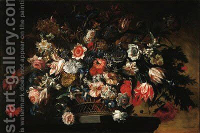 Parrot tulips, carnations, daffodils and other flowers in a basket on a pedestal by Jean Baptiste Belin de Fontenay - Reproduction Oil Painting