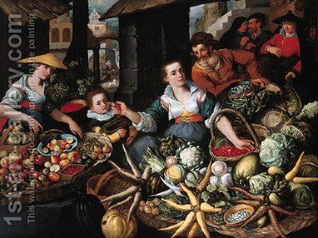 A fruit and vegetable stall in a town market by Jean Baptiste de Saive - Reproduction Oil Painting
