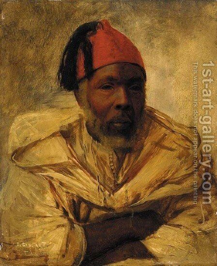 A Berber in a fez by Jean Discart - Reproduction Oil Painting