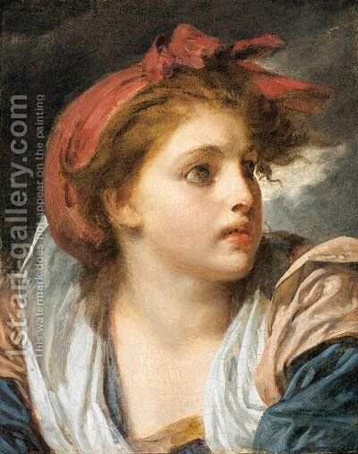 A girl, bust length, wearing a red headscarf 2 by Jean Baptiste Greuze - Reproduction Oil Painting