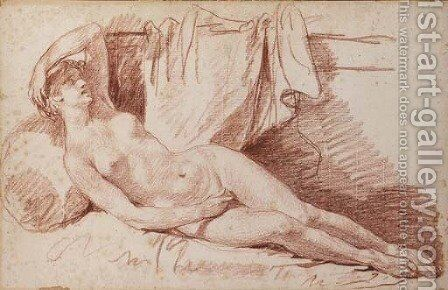 A reclining female nude by Jean Baptiste Greuze - Reproduction Oil Painting