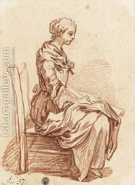 A seated girl in profile to the right by Jean Baptiste Greuze - Reproduction Oil Painting