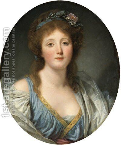 Portrait of Madame de Viette, bust-length, in a blue dress and white wrap by Jean Baptiste Greuze - Reproduction Oil Painting