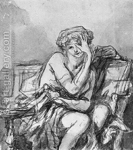 A seated semi-clad Woman by Jean Baptiste Greuze - Reproduction Oil Painting