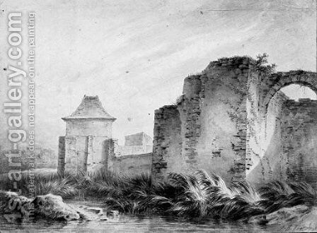The fortified walls of a ruined city by Jean-Baptiste Huet - Reproduction Oil Painting