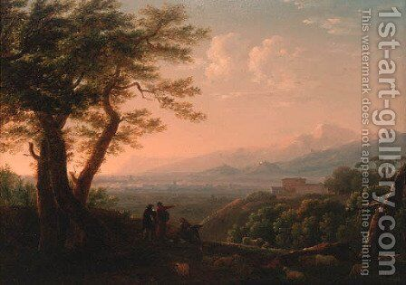 Artists conversing in an extensive Italianate landscape by Jean-Baptiste Lallemand - Reproduction Oil Painting