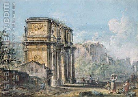 The Forum with the Arch of Constantine, peasants in the foreground by Jean-Baptiste Lallemand - Reproduction Oil Painting