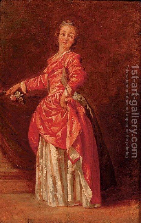 A lady in a red dress in an interior by Jean-Baptiste Le Prince - Reproduction Oil Painting