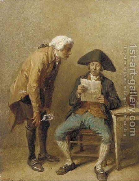 Two gentlemen reading a letter by Jean-Baptiste Madou - Reproduction Oil Painting