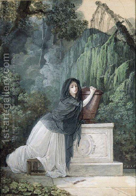 A Woman in mourning kneeling in front of a Monument with Cupid by Jean-Baptiste Mallet - Reproduction Oil Painting