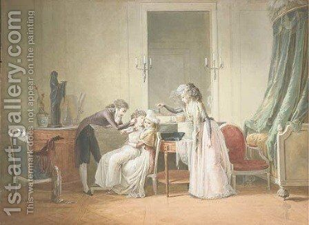 A young man piercing the ear of a young girl seated on the knees of a woman, another bringing an earring by Jean-Baptiste Mallet - Reproduction Oil Painting