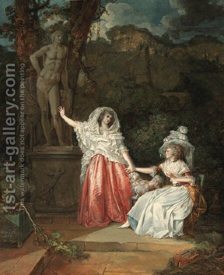 Two elegant young ladies in a garden with a man hiding behind a statue of Apollo by Jean-Baptiste Mallet - Reproduction Oil Painting