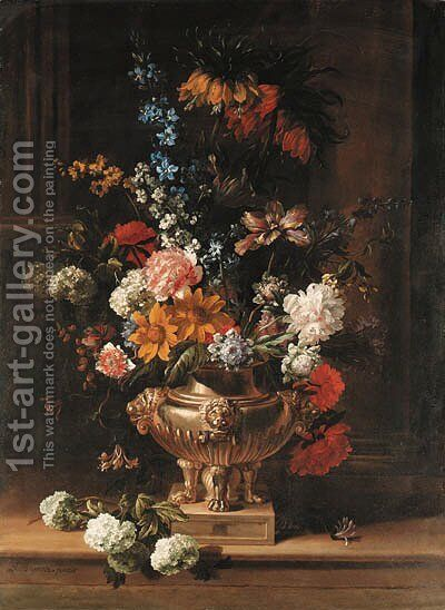 Parrot tulips, chrysanthemum, hydrangea, honeysuckle, borage, paeonies, Crown Imperial fritillaries and other flowers in a sculpted urn on a ledge by Jean-Baptiste Monnoyer - Reproduction Oil Painting
